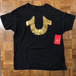 True Religion Gold Foil Horseshoe Black T Shirt